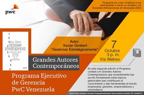 Xabier Gimbert en el Programa Ejecutivo de Gerencia PwC Venezuela a beneficio de la SAV